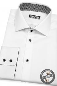 Weißes Herrenhemd im klassischen Stil mit schwarzen Knöpfen