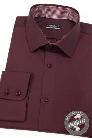 Slim Herren Hemd in burgunderrot mit lange Ärmel