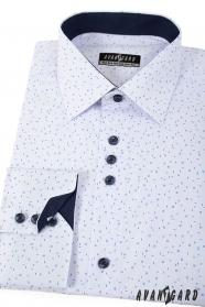Weißes Hemd mit blauem Muster langen Ärmeln
