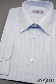 Herren Hemd langarm  Hellblau mit breiten Streifen