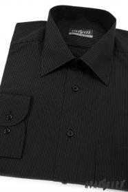Herren Hemd langarm  Schwarz mit feinem weißem Streifen