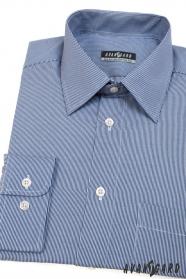 Herren Hemd langarm  Blau mit schmalen Streifen