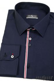 Blaues Hemd mit langen Ärmeln, Streifen