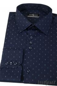 Dunkelblaues Hemd mit Doppelstreifen, langen Ärmeln