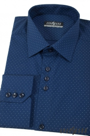 Blaues, gepunktetes Herrenhemd mit langen Ärmeln