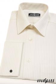Herren Hemd für Manschettenknöpfe beige mit Streifen