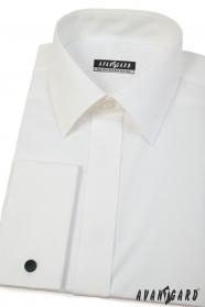 Cremefarbenes Herrenhemd für Manschettenknöpfe