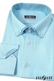 Herren Hemd  langarm  Türkis mit Doppelkragen