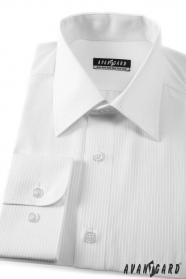 Herren Hemd  langarm  Weiß mit schmalen Streifen