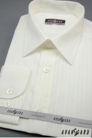 Herren Hemd  langarm creme mit breiten Streifen