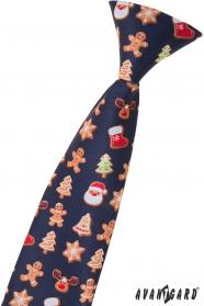 Kinderkrawatte mit Weihnachtsmuster 44 cm