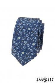 Schmale Krawatte mit blau-gelbem Muster