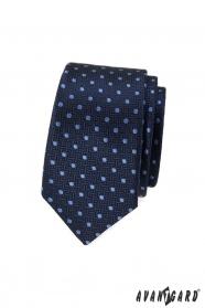 Dunkelblaue schmale Krawatte mit hellblauem Tupfen