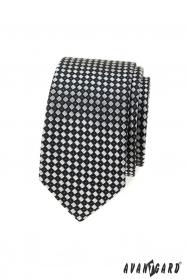 Schwarzgraue karierte schmale Krawatte