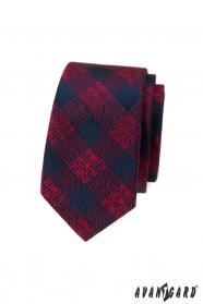 Blau-rot karierte schmale Krawatte