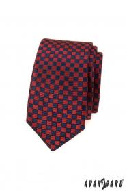 Rot-blau karierte schmale Krawatte