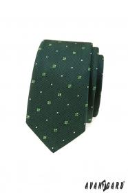 Grüne gemusterte schmale Krawatte