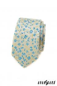 Schmale Krawatte für Männer mit blau-gelbem Muster