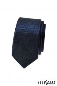 Dunkelblaue schmale Krawatte mit gestrichelter Struktur