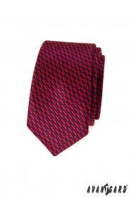 Schmale Krawatte rot-blaue Rechtecke