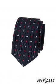 Blaue schmale Krawatte mit weiß-blauem Muster