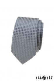 Graue schmale Krawatte mit Karomuster