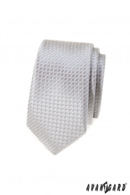 Graue karierte schmale Krawatte