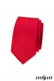 Rote karierte schmale Krawatte