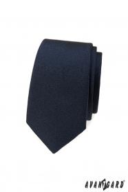 Dunkelblaue, glatte, schmale Krawatte
