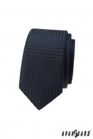 Dunkelblaue schmale Krawatte mit kariertem 3D-Muster