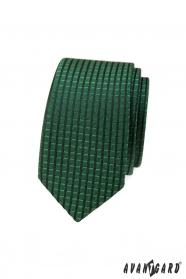 Grüne schmale Krawatte mit kariertem 3D-Muster