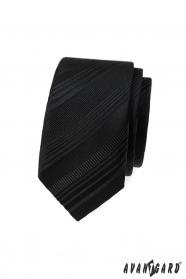 Schwarze schmale Krawatte mit verschiedenen Streifen