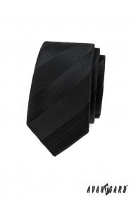 Schwarze schmale Krawatte mit Streifen