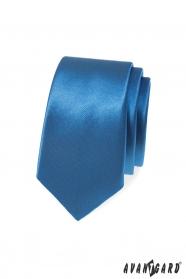 Blaue, glatte schmale Krawatte