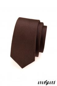 Einfarbige matte braune Krawatte SLIM