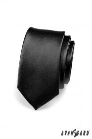 Schmalle Krawatte glänzend schwarz