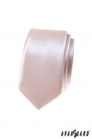Glänzende, schmale Krawatte in Puderfarbe