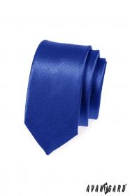 Schmale Krawatte Blau mit Glanz