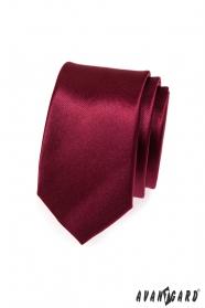Einfarbige glatte weinrote Krawatte SLIM