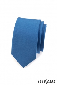 Schmale Krawatte einfarbig  Blau MAT