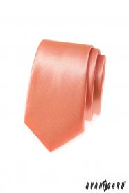 Einfarbige schmale Herren Krawatte im Lachston