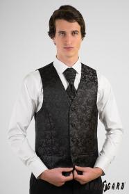Schwarz gemusterte Herrenweste mit französischer Krawatte