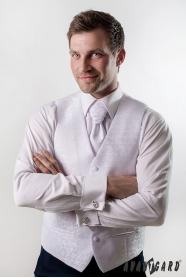 Hochzeitsweste mit Krawatte Weiß glänzend Muster