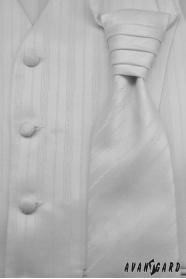 Hochzeitsweste mit Krawatte Weiß feine Linie