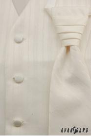 Hochzeitsweste mit Krawatte beige mit breiten Streifen
