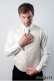 Cremige Herrenweste mit französischer Krawatte