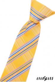 Jungen Kinder Krawatte Gelb mit blauen Streifen
