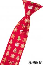 Chlapecká kravata - Červená/perníček