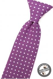 Jungen Kinder Krawatte violett mit weißen Tupfen
