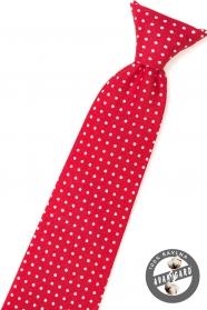 Jungen Krawatte Rot mit weißen Tupfen